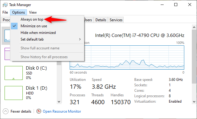 "Enabling ""Always on top"" mode in the Task Manager."