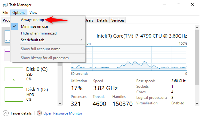 """Enabling """"Always on top"""" mode in the Task Manager."""