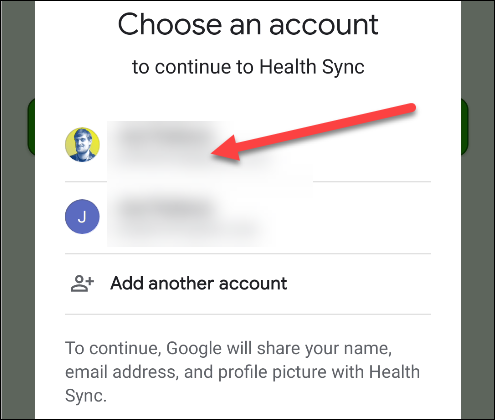 Tap the Google account you use with Google Fit.