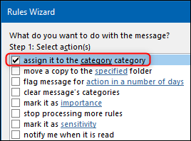 """The """"assign to the category category"""" option in the Rules Wizard."""