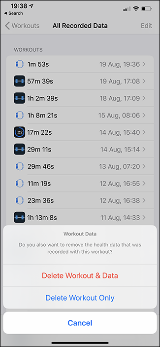 deleted workout apple watch