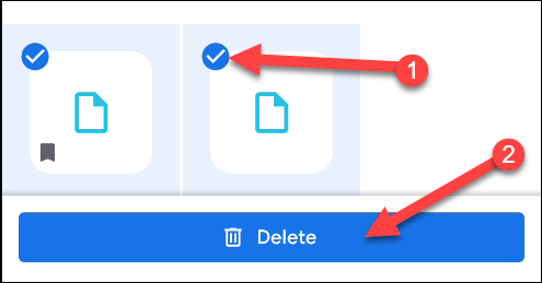 "Select the files you want to remove, and then tap ""Delete."""
