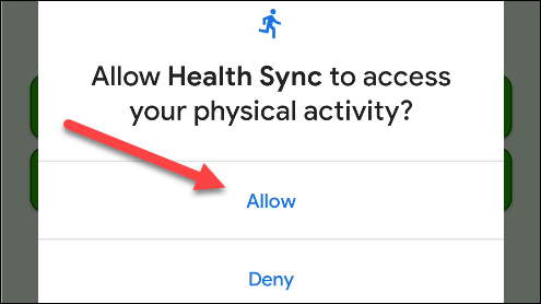 "Tap ""Allow"" to give Health Sync access."
