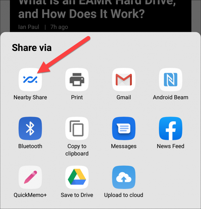 nearby share icon in share sheet