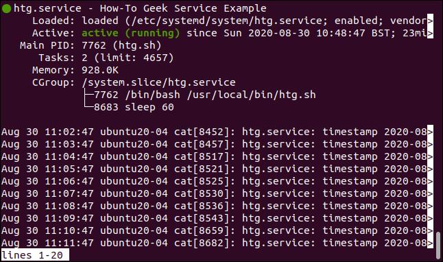 Estado de htg.service en una terminal widnow
