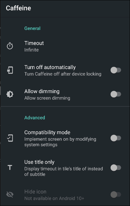 android caffeine settings