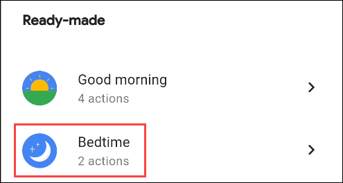 select the bedtime routine