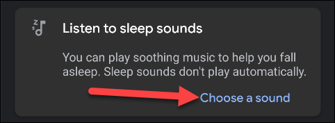 """Tap """"Choose a Sound"""" to select what you want to play as you're going to sleep."""