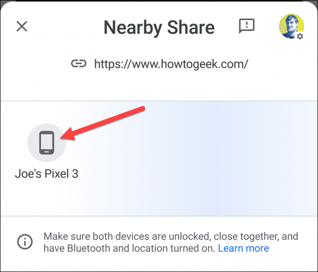 nearby share select device