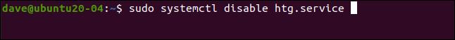 sudo systemtctl disable htg.service in a terminal window