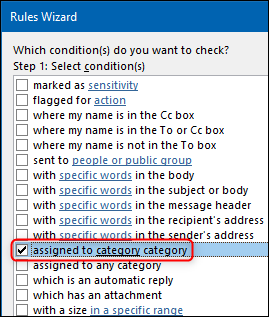 """The """"assigned to category category"""" option in the Rules Wizard."""