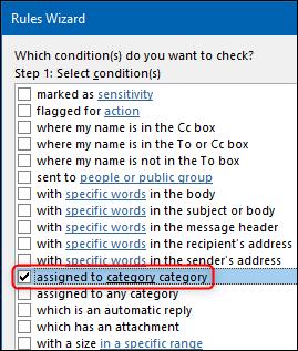 """La opción """"asignada a la categoría de categoría"""" en el Asistente de reglas."""