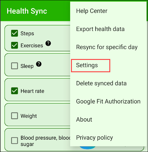 "Tap ""Settings"" in the Health Sync app."