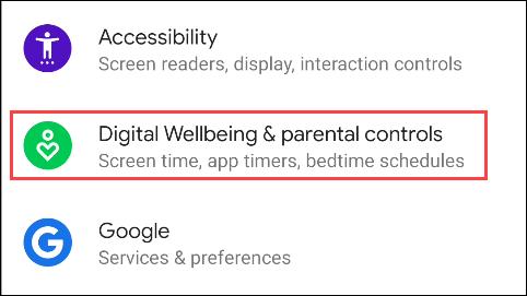 """Tap """"Digital Wellbeing"""" in the """"Settings"""" menu."""