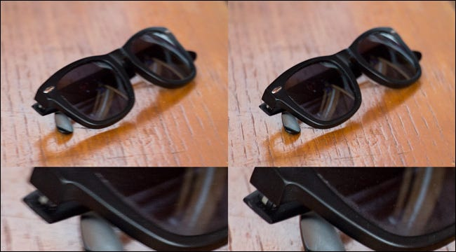 Four images of a pair of sunglasses on a table, two for which IS was used, and two when it was not.