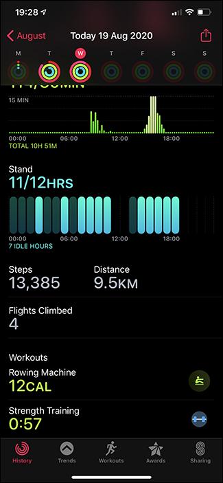 activities app history tab