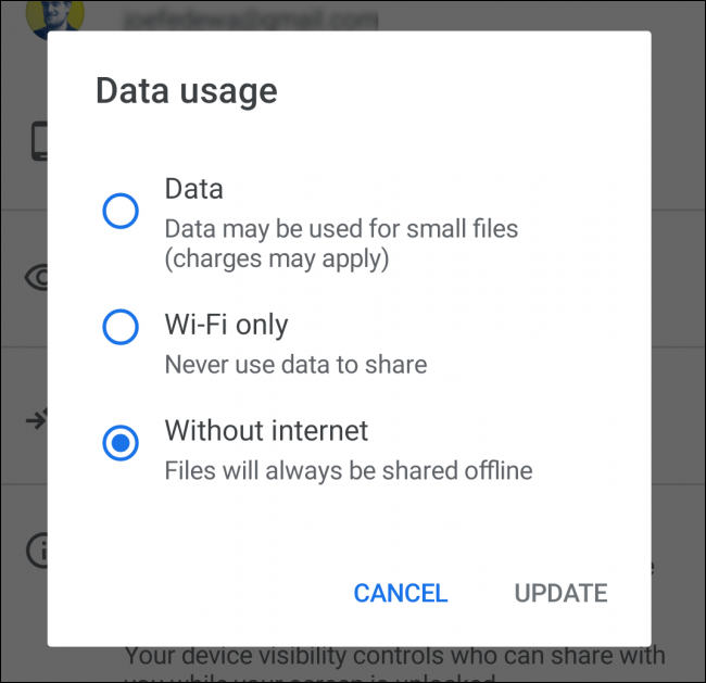 Data usage options for Nearby Share on Android