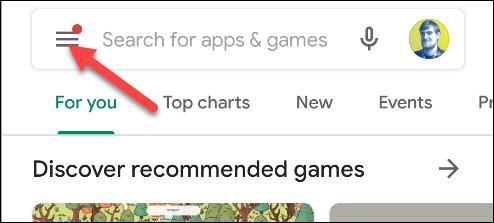 google play tap the menu icon
