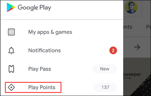 google play points from the menu
