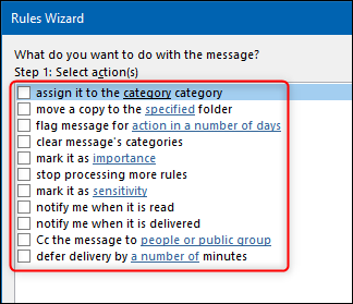 The action options in the Rules Wizard.