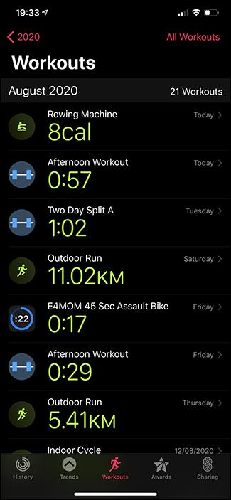 activities app workouts tab