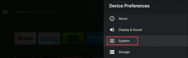 configurações do sistema de tv android