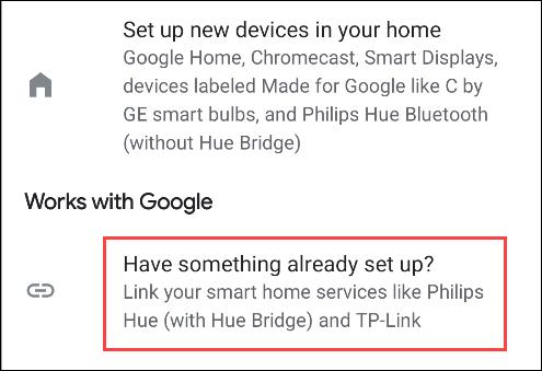 configurar un servicio existente en Google Home