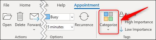 """The """"Categorize"""" ribbon option."""