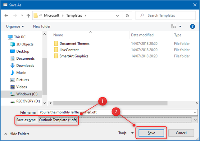 """Outlook's """"Save As"""" dialogue form."""