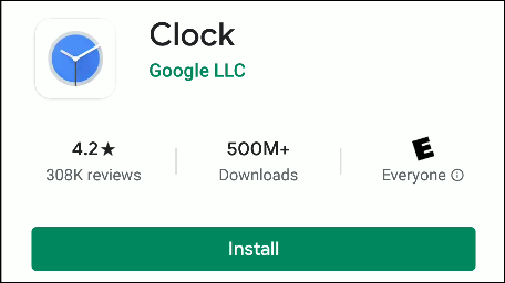 The Google Clock app in the Play Store.
