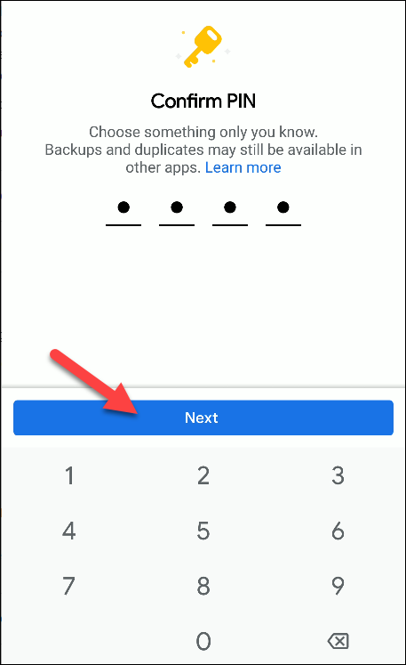 files by Google confirm pin