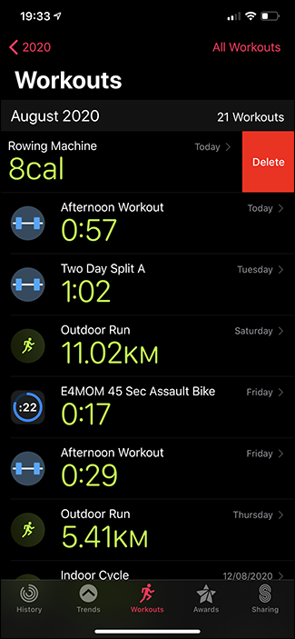deleting workout apple activities app