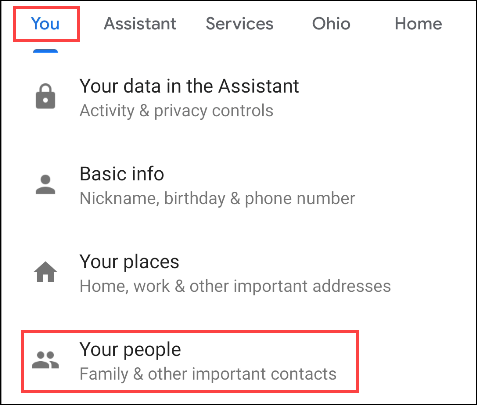 """Tap """"You,"""" and then tap """"Your People."""""""