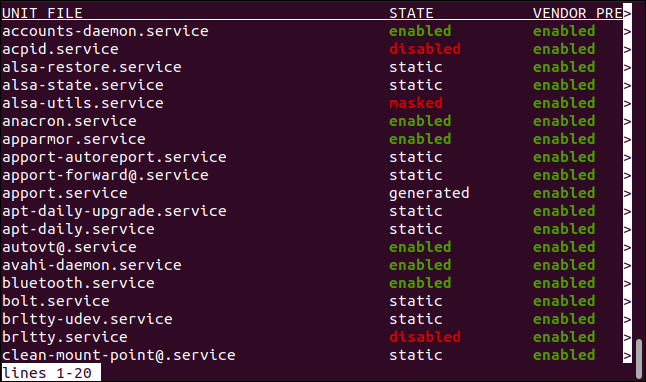 List of systemd unit files in a terminal window