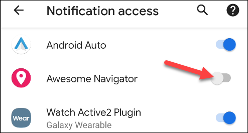 """Toggle-On """"Awesome Navigator"""" in the """"Notification Access"""" menu."""