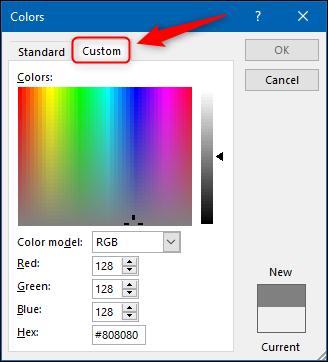"Click the ""Custom"" tab in the ""Colors"" menu."