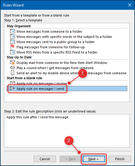 """The """"Apply rule on messages I send"""" in the Rule Wizard."""