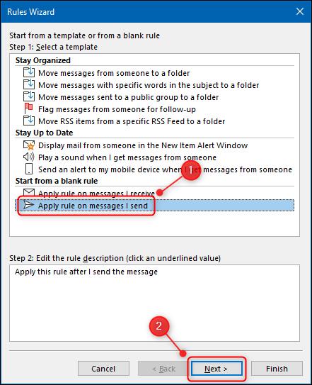 """La """"Aplicar regla a los mensajes que envío"""" en el Asistente para reglas."""