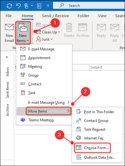 """To open a template in Outlook, you have to click """"Home,"""" select """"New Items,"""" click """"More Items,"""" and then click """"Choose Form.""""."""