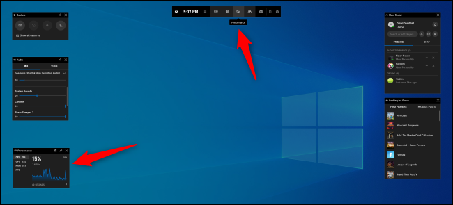 Finding the Performance pane in Windows 10's Game Bar.