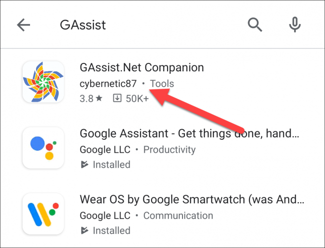 "Select ""GAssist.Net Companion."""