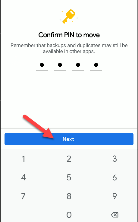 files from google confirm the pin to move