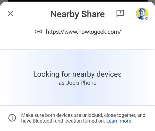 nearby share scanning