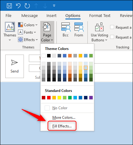 """The """"Fill Effects"""" menu option."""