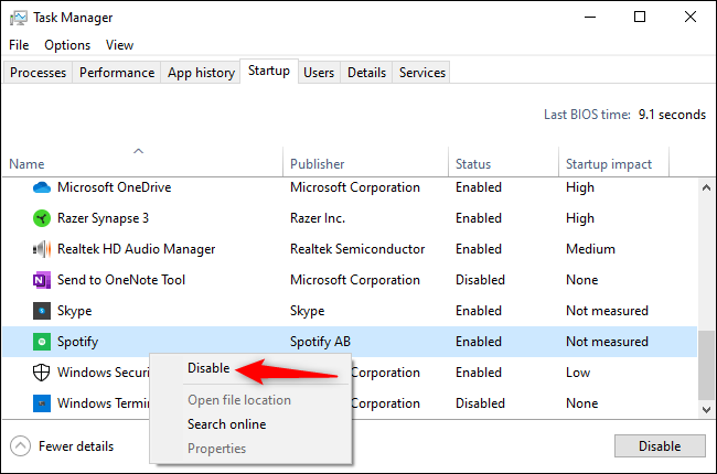 Disabling Spotify in the Task Manager.