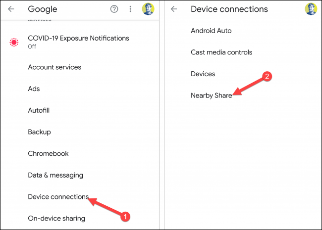 device connections nearby share