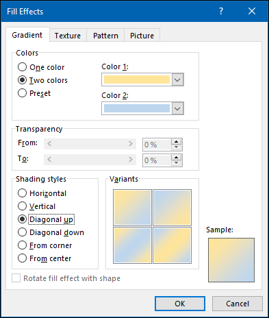"""The """"Gradient"""" options in the """"Fill Effects"""" menu."""