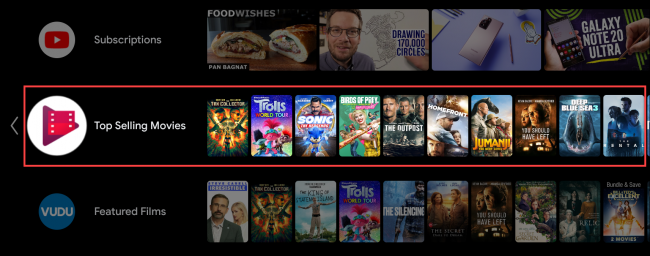 android tv highlight row