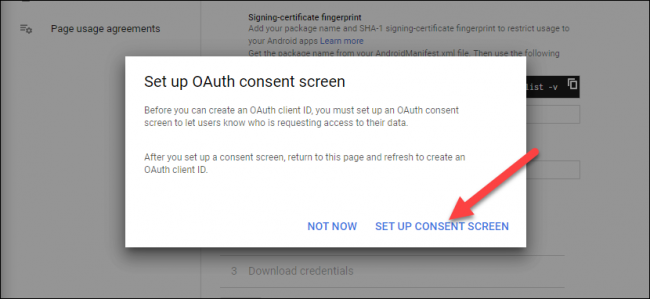 "Click ""Set Up Consent Screen."""