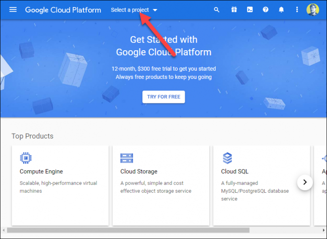 "Click ""Select a Project"" on the Google Cloud Platform."